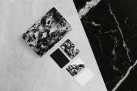 Black & white mockup business brand template on marble background