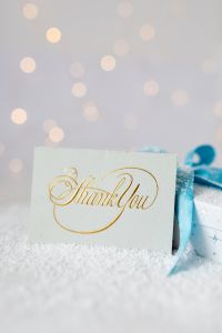Kaboompics - Christmas gift, blue ribbon, thank you card