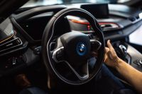 Cabin of a plug-in hybrid sports car BMW i8