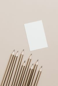 Copy space - pencils - business card - flat lay - mockup