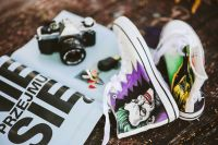 Comic book sneakers with a camera and a magazine