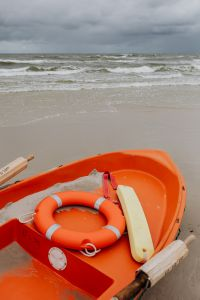Lifeguard boat on Baltic coast