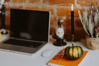 Kaboompics - Desk with laptop & Halloween Decorations