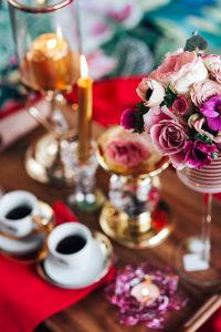 Kaboompics - Valentine's Day Breakfast in Bed: Coffee, flowers, tray
