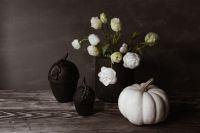 Dark mood home decorations with flowers & pumpkin
