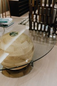 Kaboompics - Wooden detail of glass table