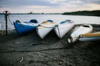 Kayaks moored on the shore