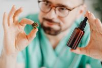 Male  doctor with essential oil