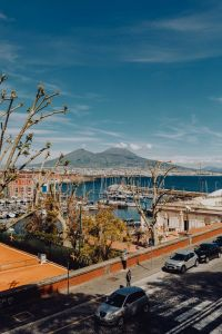 Panorama of the city Naples and the volcano Vesuvius