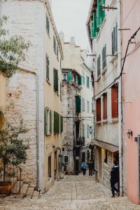 Narrow street in a small Mediterranean town, Rovinj, Croatia