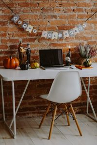 Desk with laptop & Halloween Decorations