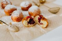 Traditional Homemade Polish Paczki with cherry jem