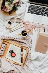 Kaboompics - Femine Flat Lay - Workspace - Laptop