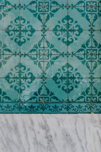 Portuguese Azulejos, typical glazed ceramic tiles with marble
