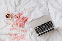 Kaboompics - Pink roses - coffee - laptop