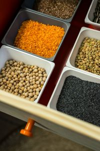 Kaboompics - Containers with legume foods and seeds