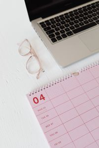 Kaboompics - Pink calendar with planner - glasses