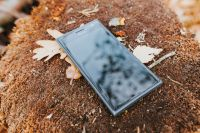 Kaboompics - Black mobile phone on the ground
