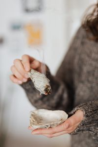 Kaboompics - Clearing Energy In Home Using Sage - Smudge Stick - Healing