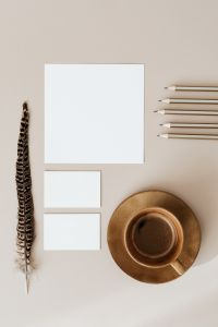 Kaboompics - Blank cards & coffee on beige background