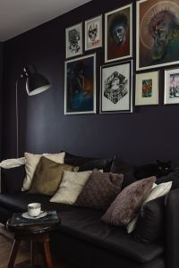 Kaboompics - Dark cozy couch with pillows in modern room interior
