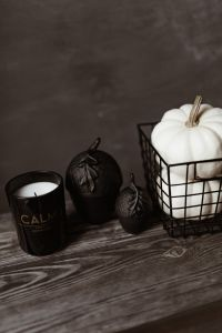 Kaboompics - Dark mood home decorations with pumpkin & candle