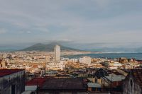 Kaboompics - Panorama of the city Naples and the volcano Vesuvius. Old houses at sunset