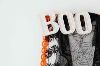 Halloween decorations on a white wall