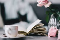 Kaboompics - Lovely roseses, book and coffee
