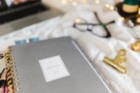 Planners & organizers in bed - women's home office