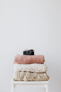 Kaboompics - Colourful sweaters & vintage camera