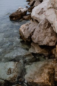 Rocks by waterside