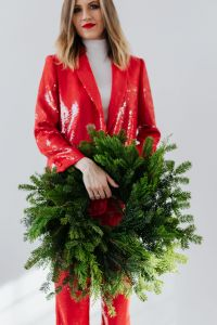 Woman with Christmas Wreath