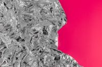 Kaboompics - Silver Foil Texture & Pink Background
