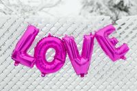 Pink Balloons in shape of the Love Word