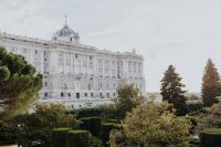 View of the Royal Palace of Madrid through the gardens, Spain