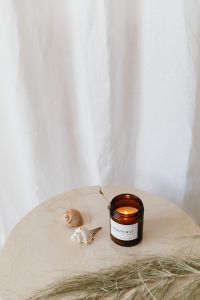 Kaboompics - Minimalistic still life with candle - vase - fresh flower and dried flower.