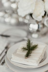 Kaboompics - Porcelain tableware with napkin and spruce branch