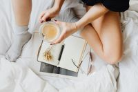 Kaboompics - Notepad - Glasses - Bedding - Coffee