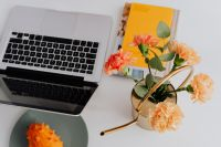 Kaboompics - MacBook laptop & orange Dianthus (carnation or clove pink) flowers on desk