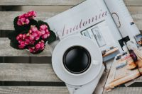 Kaboompics - Little pink flowers with a coffee and a magazine