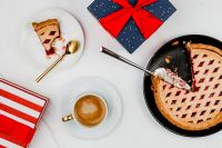 Kaboompics - Fresh baked blueberry pie, cup of coffee & Christmas gifts
