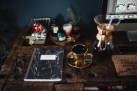Kaboompics - Notebook, cup of coffee, glasses, Chemex