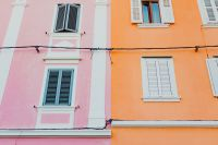 Colourful tenement houses in Izola, Slovenia