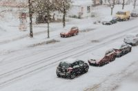 Snowy Street with Cars