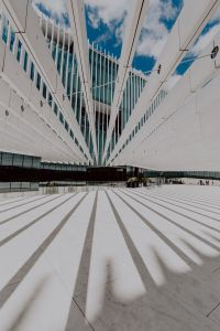 Modern white building, EDP Headquarters of architect Aires Mateus, Lisbon, Portugal