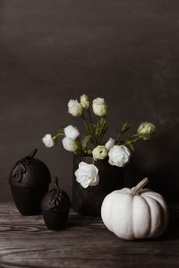 Kaboompics - Dark mood home decorations with flowers & pumpkin