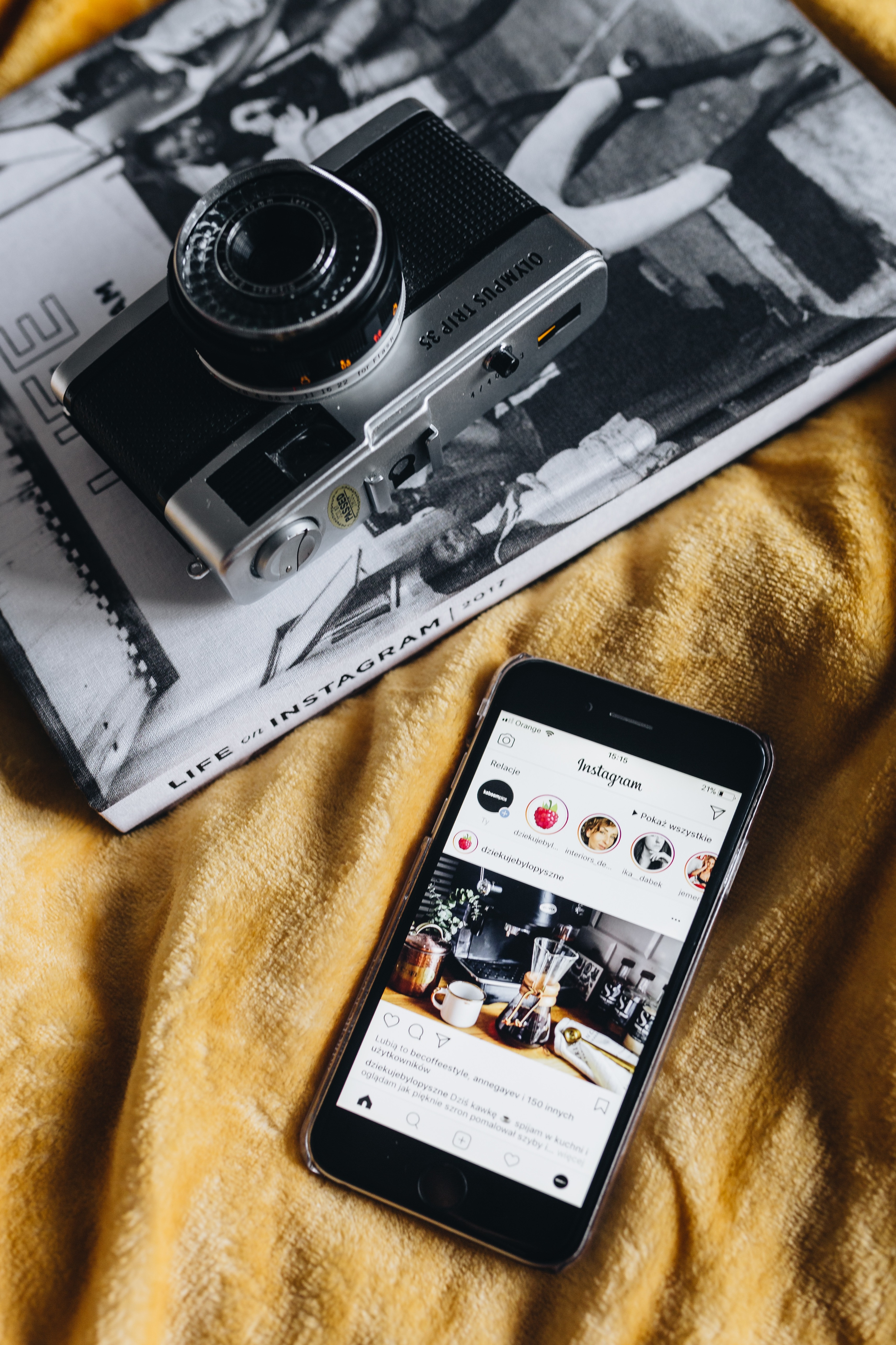 Life on Instagram Book, iPhone mobile and Vintage Camera